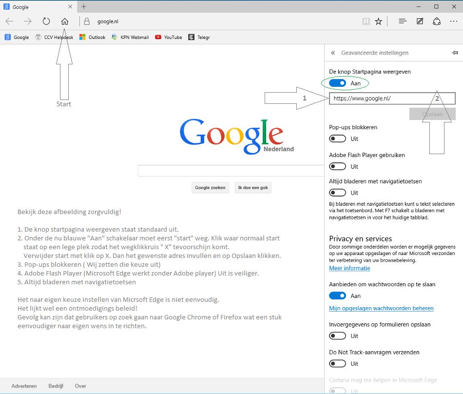 stel google in als zoekmachine edge